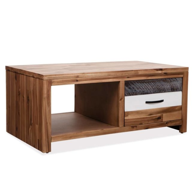 Vidaxl Bois d'Acacia Massif Table Basse Table d'Appoint Salon Bout de Canapé