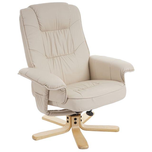 Mendler Fauteuil de télé M56, fauteuil de relaxation sans tabouret, similicuir ~ crème