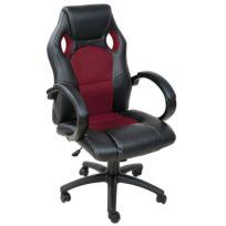 helloshop26 fauteuil de bureau chaise sige sport ergonomique confortable noir et bordeaux 0508011 - Chaise De Bureau Ergonomique Pas Cher