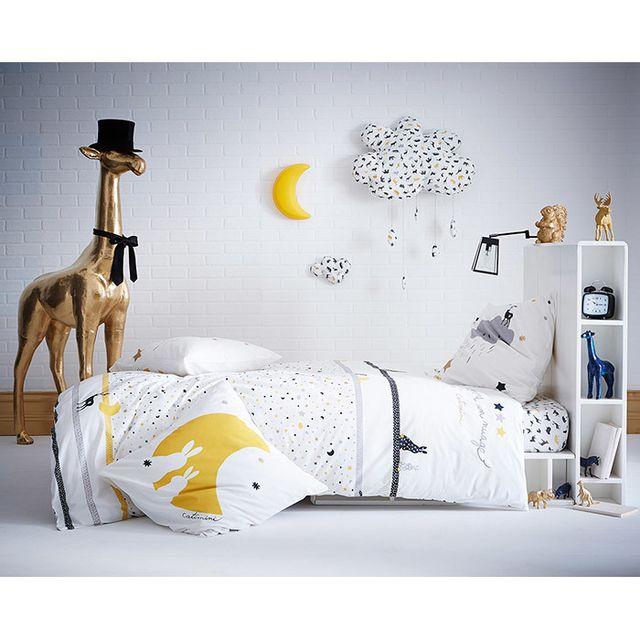 catimini housse de couette r versible coton toile animaux gris blanc comme un nuage. Black Bedroom Furniture Sets. Home Design Ideas