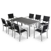 ALICE'S GARDEN - Salon de jardin en aluminium et textilène - Capua 180cm - Gris, noir - 8 places - 1 grande table rectangulaire, 8 fauteuils empilables