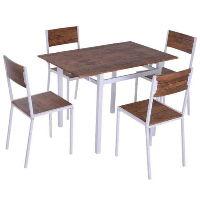 Table De Salle A Manger Extensible Avec 4 Chaises Acier Blanc Mdf Coloris Bois De Noyer