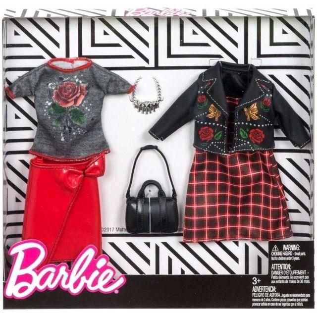 Barbie - Coffret 2 Habits   Tenue Mode Rouge - Robe - Veste et Pull - Tenue  De Soirée - Vetement Poupee - pas cher Achat   Vente Poupées - RueDuCommerce aa8da7fb6c77