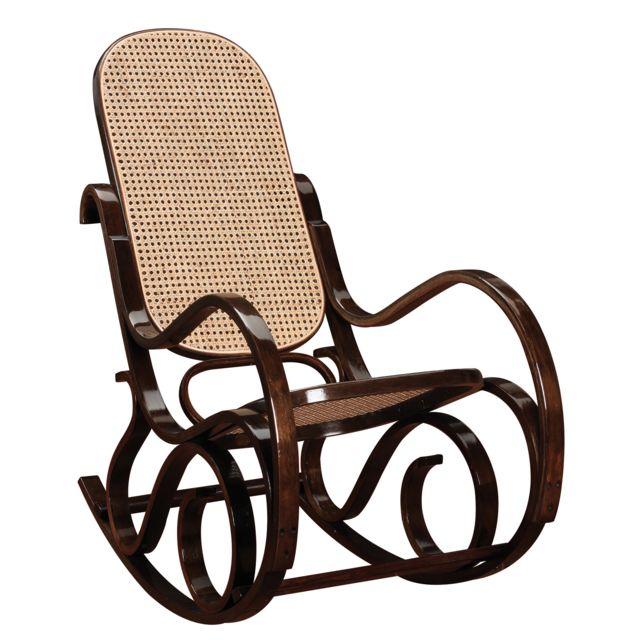 Autre Rocking Chair En Bois Massif Coloris Noyer Pas Cher Achat