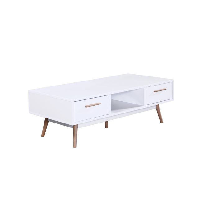 habitat et jardin table basse cody 120 x 60 x 40 cm blanc pas cher achat vente meubles. Black Bedroom Furniture Sets. Home Design Ideas