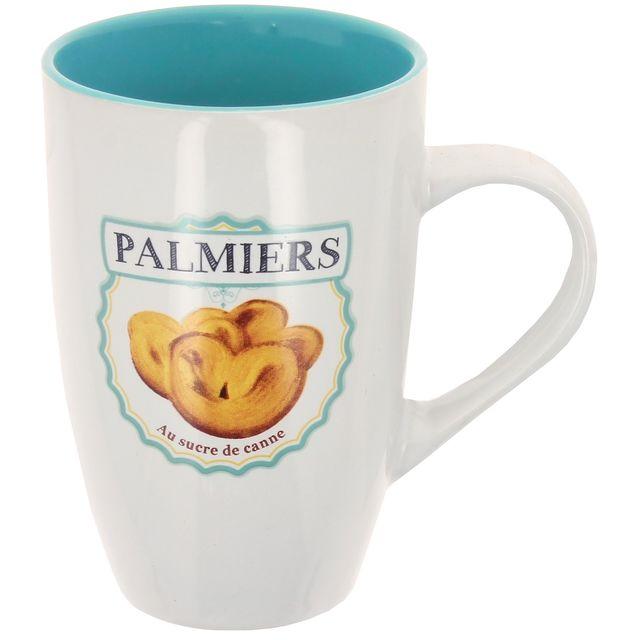 Promobo Maxi Mug Tasse A Café Géant Design Gourmand Biscuit Vintage Palmier 38cl