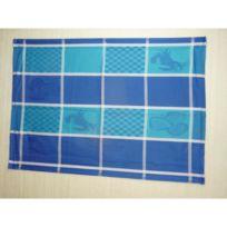 Aucune - Lot de 6 torchons de cuisine Coralie fruits de mer bleue 50x70 cm