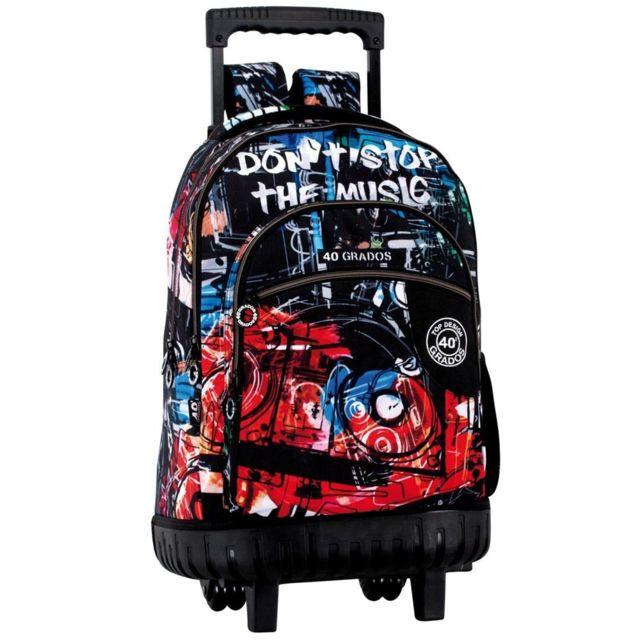 f1d073e6581 Zzz - Sac à dos à roulettes Music 46 Cm trolley Haut de Gamme - Cartable