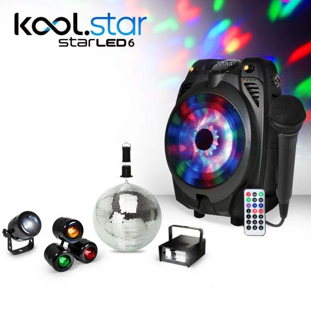 Koolstar Enceinte mobile Karaoke noir à Led Rvb Usb/BT + Micro filaire + Pack lumière Fiesta enfant