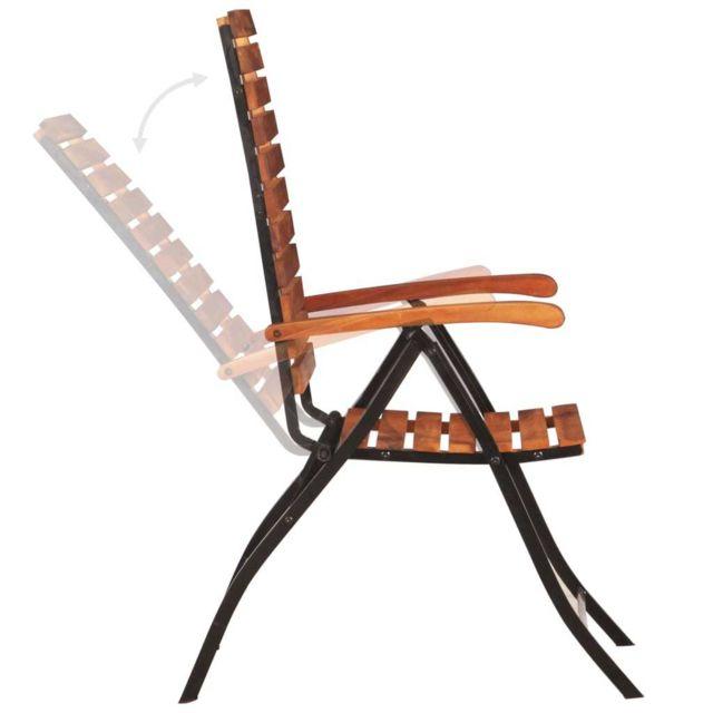 Icaverne - Chaises de jardin ligne Chaises inclinables de jardin 2 pcs Bois  solide d\'acacia