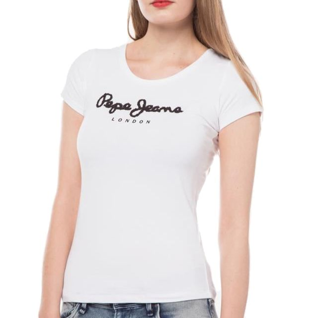 Pepe Jeans - T Shirt Manches Courtes - Femme - Rachels - Blanc Noir - pas  cher Achat   Vente Tee-shirts, tops - RueDuCommerce 9550f63acd98