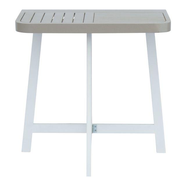 Alinéa - Youk Demi table haute d\'appoint pliante grise en acacia ...