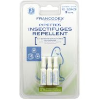 Francodex - Pipettes Insectifuges Chien 3 pipettes de 2 ml
