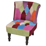 Vidaxl Fauteuil de style France design patchwork multi couleur