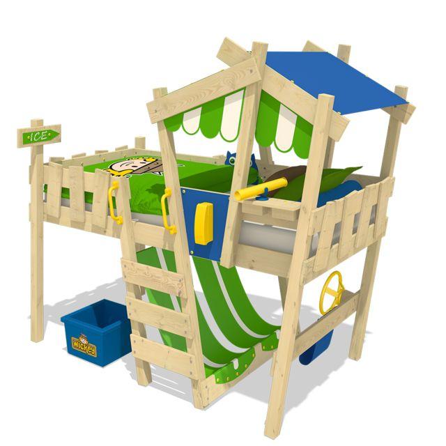 WICKEY Lit mezzanine CrazY Hutty Lit surélevé en bois pour enfant