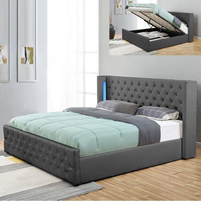 MEUBLER DESIGN Lit coffre design avec led OSMOS - Gris - 140x190