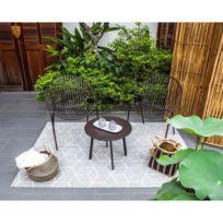 Salon De Jardin - Ensemble Table Chaise Fauteuil De Jardin Oria Salon de  jardin 2 places - 2 fauteuils et une table basse en métal - Noir