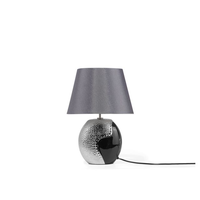 Lampe De Chevet Moderne Noire Et Argentee Argun