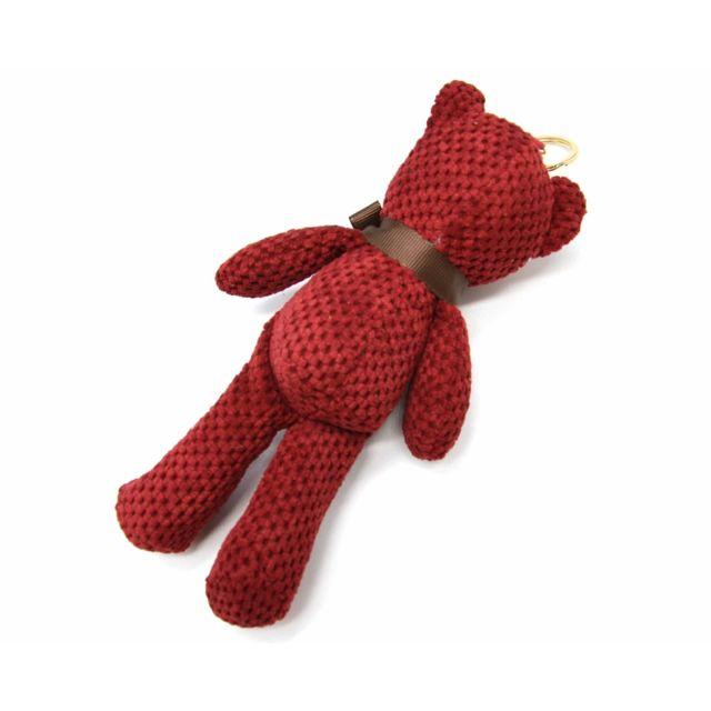 Oh My Shop - Pt1547E - Porte-Clés / Bijou de Sac - Peluche Ourson Xxl Effet Laine Crochet Bordeaux avec Clous Dorés et Noeud Marron