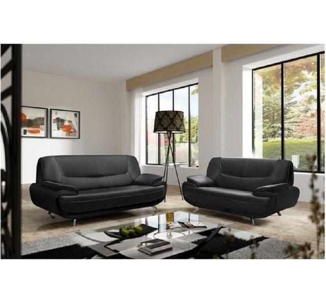 CHLOE DESIGN Canapé design 3+2 bregga 2 - noir