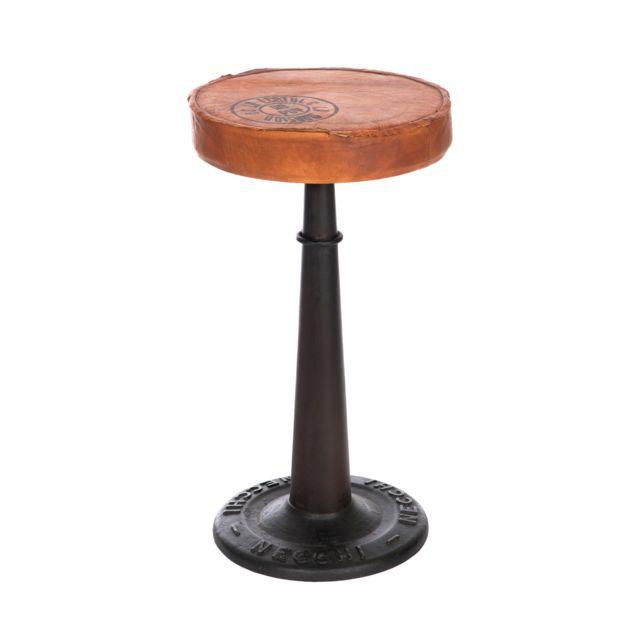 Chaise de bar cuir et pieds métal - coloris marron