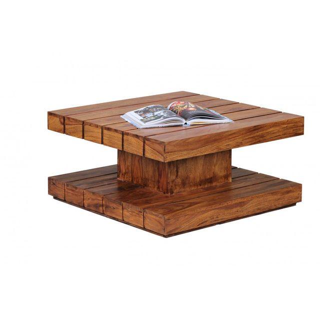 Comforium Table basse carrée 80 x 80 cm en bois massif sheesham