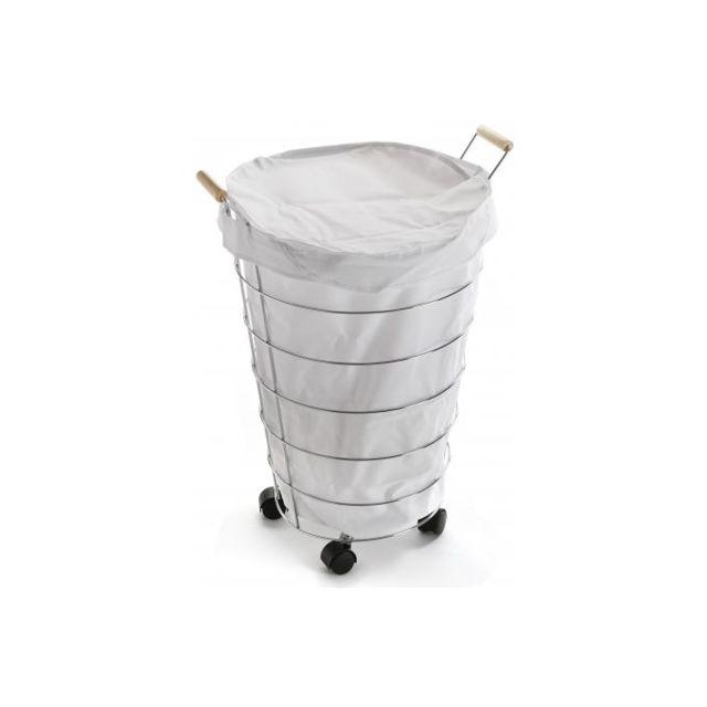 ec3c10efa666 Declikdeco - Panier à linge blanc métal et tissu à roulettes D.40cm Adrien  - pas cher Achat   Vente Meubles de salle de bain - RueDuCommerce