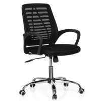 Hjh Office - Siège de bureau / siège tournant Vido Net tissu noir