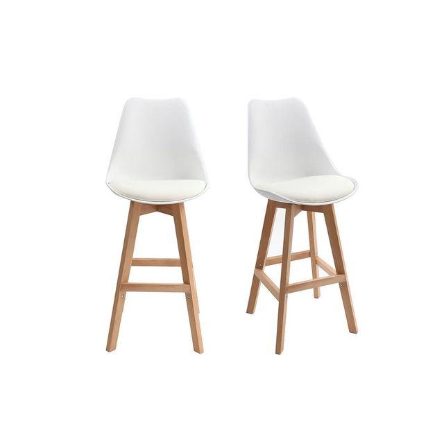 miliboo tabourets de bar design blanc et bois 65 cm lot de 2 pauline pas cher achat vente. Black Bedroom Furniture Sets. Home Design Ideas