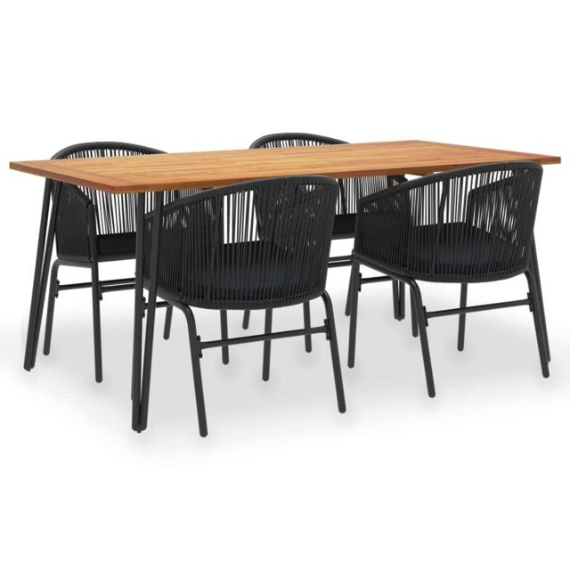 Vidaxl Mobilier à dîner d'extérieur 5 pcs Acacia solide et rotin Pvc