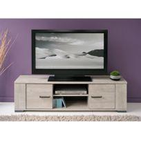 - Banc tv 1 tablette 2 portes, coloris chêne grisé