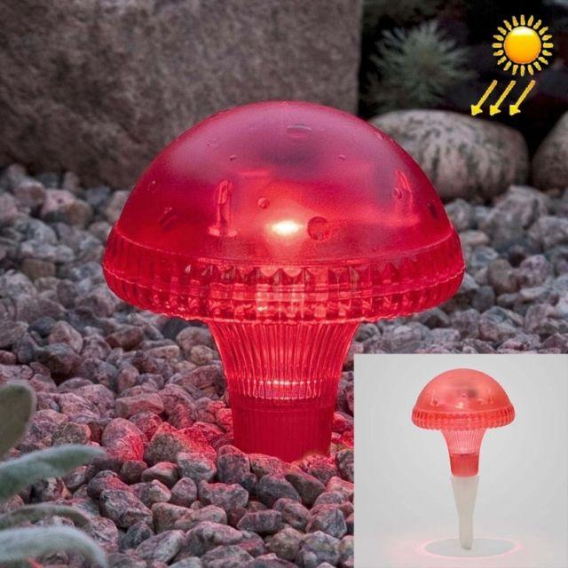 Led Avec panneau solaire rouge champignon énergie cour jardin lampe avec  0.2W monocristallin de silicium