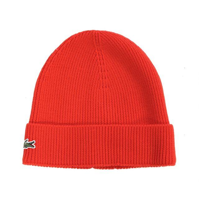 c6e9412b683f Lacoste - Lacoste - Homme - Bonnet à revers en laine rouge Rb3502