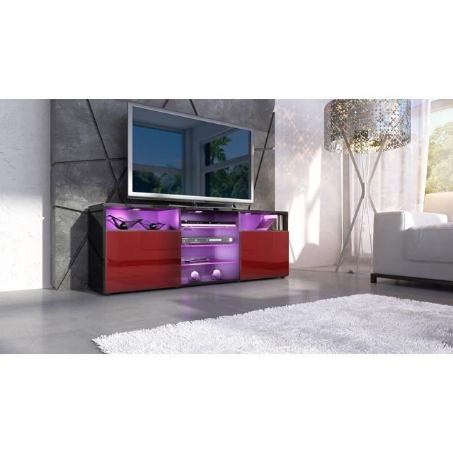 mpc meuble design noir et bordeaux fa ade laqu e sans led noir bordeaux pas cher achat. Black Bedroom Furniture Sets. Home Design Ideas