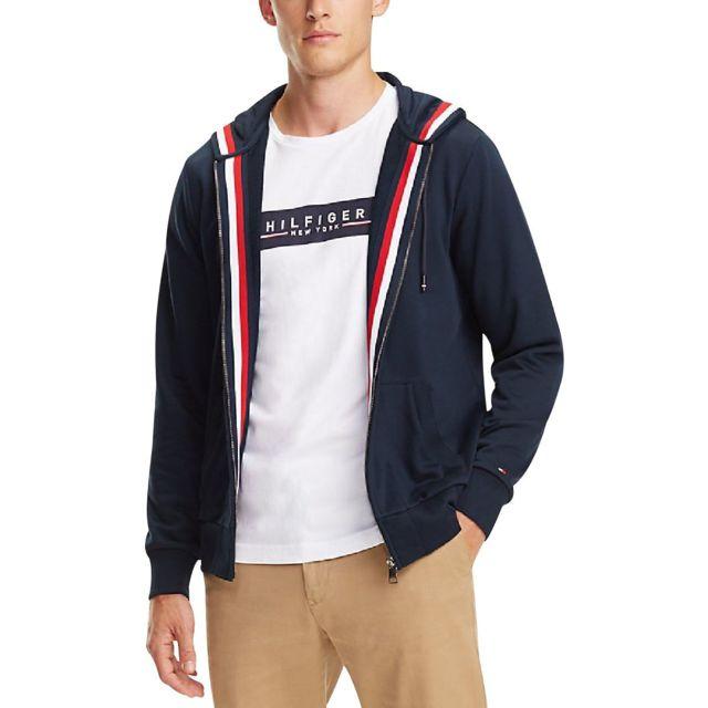 811fcbee91385 Tommy hilfiger - Sweat zippé à capuche et bande emblématique - pas ...