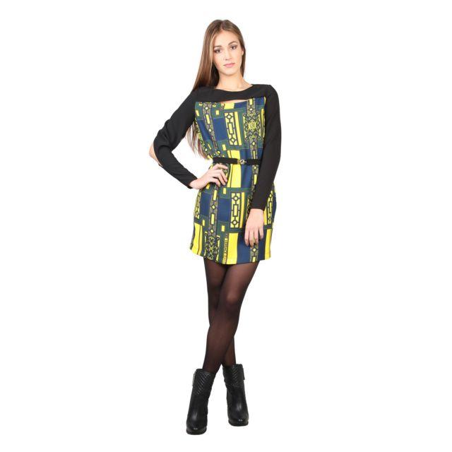 e7fe02a0e6b Buzzao - Robe noir tissu à motifs et manches longues femme - Versace Jeans