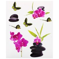 Promobo - Planche Lot 8 Stickers Deco Zen Colonne Galets Noir Fleur Rose