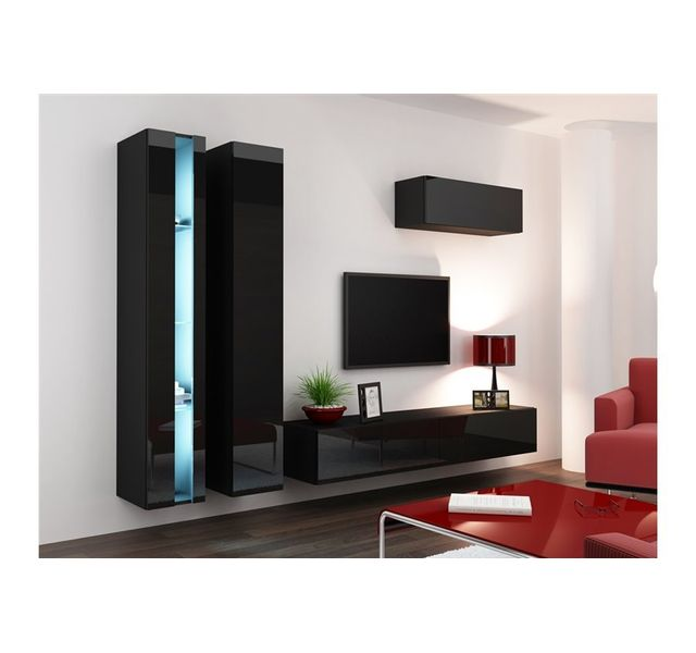 CHLOE DESIGN Ensemble Meuble tv mural MALARMO - noir