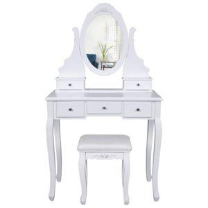 Helloshop26 coiffeuse bois avec grand miroir et tabouret - Coiffeuse avec miroir et tabouret pas cher ...