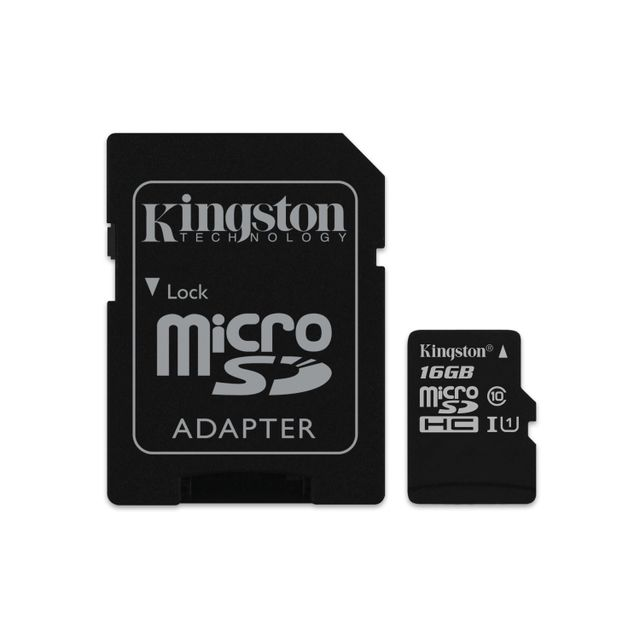 KINGSTON - 16GB microSDHC Class 10 UHS-I 45MB/s Read Card + SD Adapter