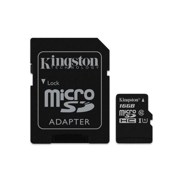 KINGSTON - 16GB microSDHC Class 10 UHS-I 45MB/s Read Card + SD Adapter