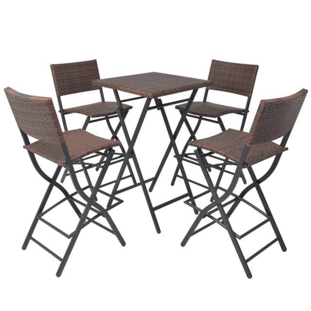Icaverne - Ensembles de meubles d'extérieur ligne Mobilier d'extérieur 5 pcs Marron Résine tressée