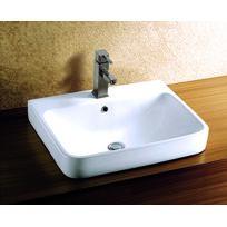 Maison De La Tendance - Vasque rectangulaire à poser sur un meuble de bain 60x46x19,5 cm en céramique