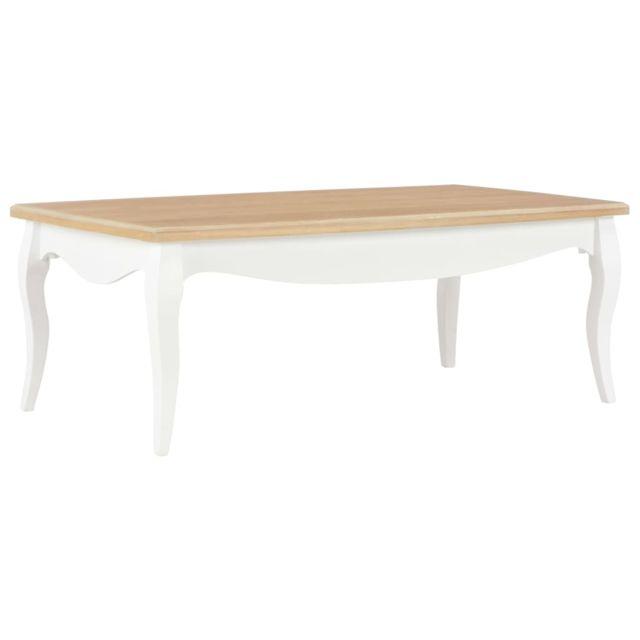 Vidaxl Bois de Pin Massif Table Basse Blanc et Marron Table d'Appoint Salon