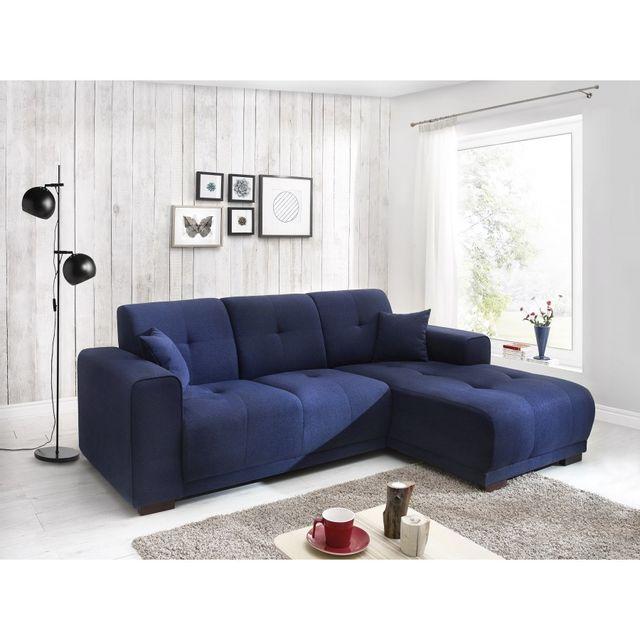 Bobochic - Canape d\'angle Lisbona fixe droit bleu marine 233cm x ...