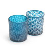 Amadeus - Coffret de 2 photophores en verre motif art déco bleu Grand Hotel