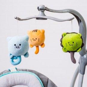 BEBE2LUXE - Balancelle / transat bébé Electrique LILOU 2 : MP3 + télécommande + chargeur