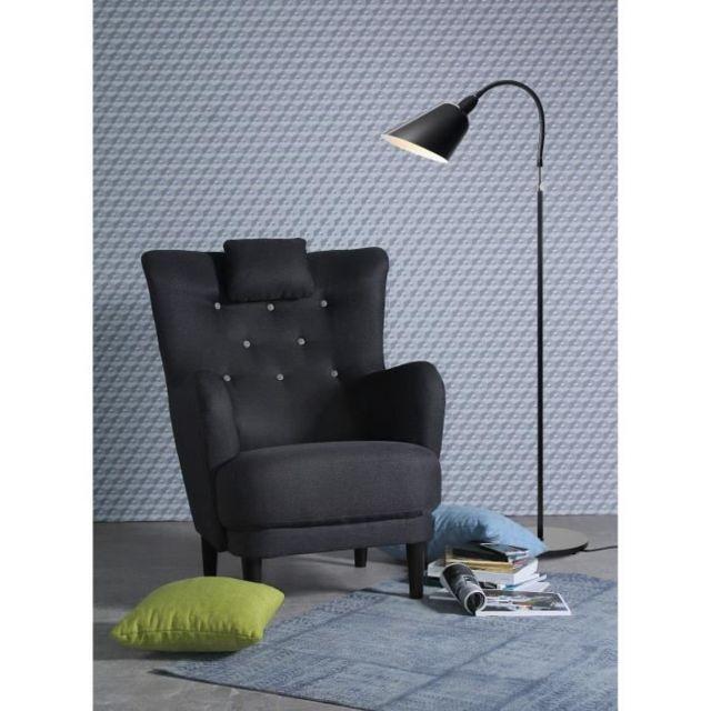 FAUTEUIL WERNER Fauteuil - Tissu Anthracite - Boutons gris clair - L 81 x P 90 x H 106 cm