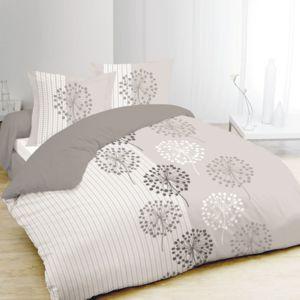 Vision - Housse de couette 240x260 + 2 taies Anna Gris 100% coton Gris, Blanc - 240cm x 220cm
