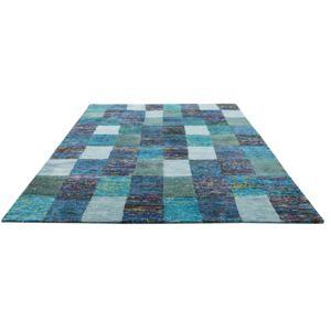 home spirit tapis viscose jute carreaux effet patchwork de mati res sari pas cher achat. Black Bedroom Furniture Sets. Home Design Ideas